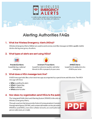 Image of the Alerting Authorities Frequently Asked Questions (FAQs) document, page 1